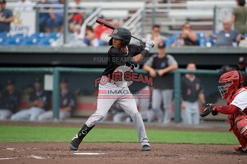 Batavia Muckdogs Nasim Nunez (23) at bat during a NY-Penn League game against the Auburn Doubledays on September 2, 2019 at Falcon Park in Auburn, New York.  Batavia defeated Auburn 7-0 to clinch the Pinckney Division Title.  (Mike Janes/Four Seam Images)