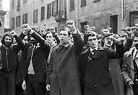 - Milano, funerale di Salvatore Toscano, leader dell'organizzazione Movimento Studentesco (marzo 1976), in center Luca Cafiero<br /> <br /> - Milan, funeral of Salvatore Toscano, leader of  leftist organization Student Movement (mars 1976), al centro Luca Cafiero