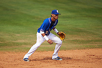 Biloxi Shuckers shortstop Orlando Arcia (2) during a game against the Birmingham Barons on May 24, 2015 at Joe Davis Stadium in Huntsville, Alabama.  Birmingham defeated Biloxi 6-4 as the Shuckers are playing all games on the road, or neutral sites like their former home in Huntsville, until the teams new stadium is completed in early June.  (Mike Janes/Four Seam Images)