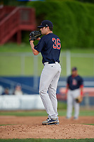 Lowell Spinners relief pitcher Hunter Haworth (36) gets ready to deliver a pitch during a game against the Connecticut Tigers on August 26, 2018 at Dodd Stadium in Norwich, Connecticut.  Connecticut defeated Lowell 11-3.  (Mike Janes/Four Seam Images)