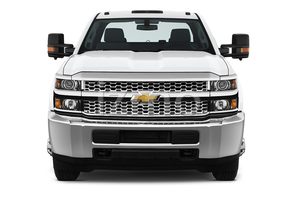 Car photography straight front view of a 2019 Chevrolet Silverado-3500 WT 4 Door Pick Up