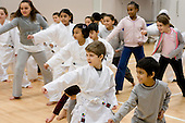 Karate Do demonstration for parents of children at Gateway Primary School, Paddington, London, organised by Central London Youth Development.
