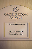 Orlando, FL - Friday Oct. 14, 2016:  Meeting room during a US Soccer Coaching Clinic in Orlando, Florida.