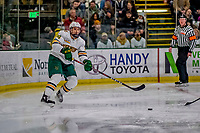 9 February 2019: University of Vermont Catamount Defenseman Jake Massie, a Junior from St. Lazare, Quebec, in first period action against the University of New Hampshire Wildcats at Gutterson Fieldhouse in Burlington, Vermont. The Catamounts defeated the Wildcats 4-1 to split their 2-game Hockey East weekend series. Mandatory Credit: Ed Wolfstein Photo *** RAW (NEF) Image File Available ***