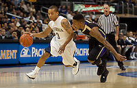 Jerome Randle dribbles against Isaiah Thomas. The Washington Huskies defeated the California Golden Bears 79-75 during the championship game of the Pacific Life Pac-10 Conference Tournament at Staples Center in Los Angeles, California on March 13th, 2010.
