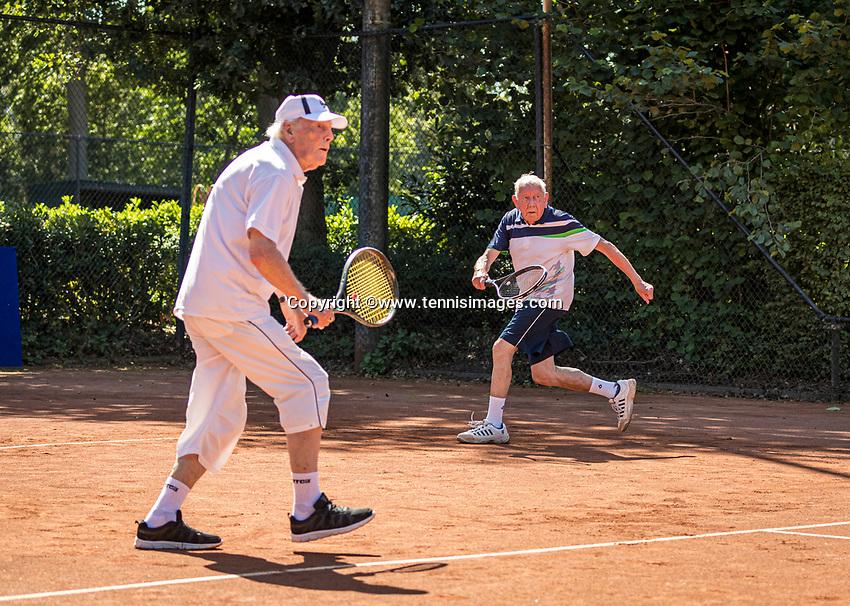 Hilversum, The Netherlands,  August 21, 2020,  Tulip Tennis Center, NKS, National Senior Tennis Championships, Men's single 80+, Men's doubles: Lubbert Buytenhuis (NED) and Roel Lubberts (NED)<br /> Photo: Tennisimages/Henk Koster