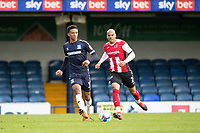 Nathan Ralph, Southend United lays the ball off under pressure from Jake Caprice of Exeter City during Southend United vs Exeter City, Sky Bet EFL League 2 Football at Roots Hall on 10th October 2020