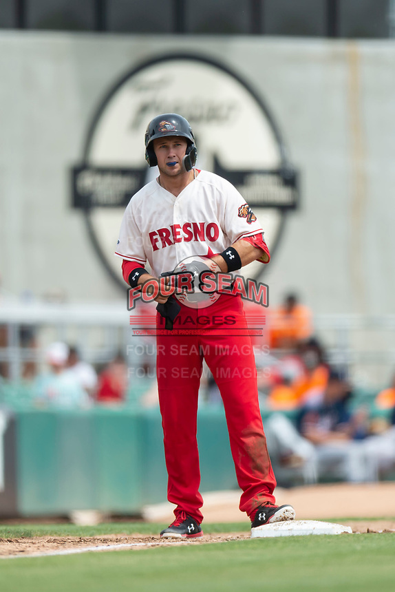 Fresno Grizzlies shortstop Carter Kieboom (8) stands on third base after hitting a triple during a game against the Reno Aces at Chukchansi Park on April 8, 2019 in Fresno, California. Fresno defeated Reno 7-6. (Zachary Lucy/Four Seam Images)