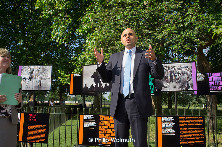 Royal Parks Chief Executive Linda Lennon CBE and Sajid Javid MP, Secretary of State for Culture Media and Sport. Opening of the newly re-landscaped speaking area at Speakers' Corner, Hyde Park, London.