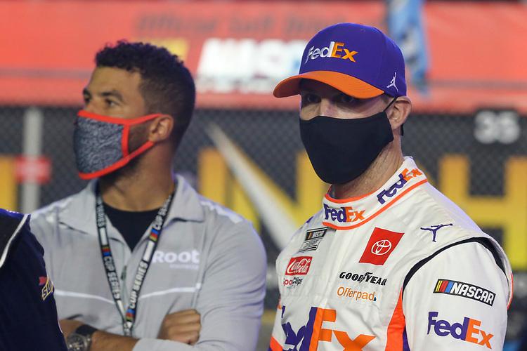 #11: Denny Hamlin, Joe Gibbs Racing, Toyota Camry FedEx Express, Bubba Wallace