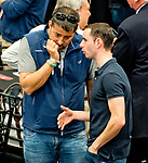 LOUISVILLE, KY - MAY 01: Sol Kumin talks with jockey Florent Geroux during the Kentucky Derby Post Draw at Churchill Downs on May 1, 2018 in Louisville, Kentucky. (Photo by Scott Serio/Eclipse Sportswire/Getty Images)