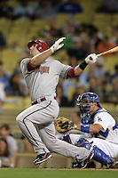 Arizona Diamondbacks first baseman Paul Goldschmidt #44 bats against the Los Angeles Dodgers at Dodger Stadium on September 13, 2011 in Los Angeles,California. Arizona defeated Los Angeles 5-4.(Larry Goren/Four Seam Images)