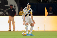 CARSON, CA - SEPTEMBER 15: Zlatan Ibrahimovic #9 of the Los Angeles Galaxy displays his emotions during a game between Sporting Kansas City and Los Angeles Galaxy at Dignity Health Sports Complex on September 15, 2019 in Carson, California.