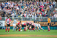 20120803 Copyright onEdition 2012©.Free for editorial use image, please credit: onEdition.General view of a scrum between London Welsh 7s and London Irish 7s at The Recreation Ground, Bath in the Final round of The J.P. Morgan Asset Management Premiership Rugby 7s Series...The J.P. Morgan Asset Management Premiership Rugby 7s Series kicked off again for the third season on Friday 13th July at The Stoop, Twickenham with Pool B being played at Edgeley Park, Stockport on Friday, 20th July, Pool C at Kingsholm Gloucester on Thursday, 26th July and the Final being played at The Recreation Ground, Bath on Friday 3rd August. The innovative tournament, which involves all 12 Premiership Rugby clubs, offers a fantastic platform for some of the country's finest young athletes to be exposed to the excitement, pressures and skills required to compete at an elite level...The 12 Premiership Rugby clubs are divided into three groups for the tournament, with the winner and runner up of each regional event going through to the Final. There are six games each evening, with each match consisting of two 7 minute halves with a 2 minute break at half time...For additional images please go to: http://www.w-w-i.com/jp_morgan_premiership_sevens/..For press contacts contact: Beth Begg at brandRapport on D: +44 (0)20 7932 5813 M: +44 (0)7900 88231 E: BBegg@brand-rapport.com..If you require a higher resolution image or you have any other onEdition photographic enquiries, please contact onEdition on 0845 900 2 900 or email info@onEdition.com.This image is copyright the onEdition 2012©..This image has been supplied by onEdition and must be credited onEdition. The author is asserting his full Moral rights in relation to the publication of this image. Rights for onward transmission of any image or file is not granted or implied. Changing or deleting Copyright information is illegal as specified in the Copyright, Design and Patents Act 1988. If you are in any way unsure of your right to publish this