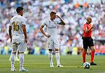 Real Madrid CF's James Rodriguez and Real Madrid CF's Toni Kroos during La Liga match. Aug 24, 2019. (ALTERPHOTOS/Manu R.B.)