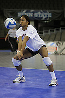 Omaha, NE - DECEMBER 20:  Middle blocker Janet Okogbaa #2 of the Stanford Cardinal during Stanford's 2008 NCAA Division I Women's Volleyball Final Four Championship closed practice before playing the Penn State Nittany Lions on December 20, 2008 at the Qwest Center in Omaha, Nebraska.