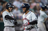 Lancaster JetHawks Luis Castro (41) is congratulated by Joel Diaz (5) after hitting a home run during a California League game against the Lake Elsinore Storm on September 2, 2019 at The Diamond in Lake Elsinore, California. Lake Elsinore defeated Lancaster 4-3. (Zachary Lucy/Four Seam Images)