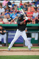 Kane County Cougars first baseman Yoel Yanqui (29) at bat during a game against the South Bend Cubs on July 21, 2018 at Northwestern Medicine Field in Geneva, Illinois.  South Bend defeated Kane County 4-2.  (Mike Janes/Four Seam Images)