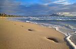 Foot prints along the beach of Kailua Beach in Oahu, Hawaii.
