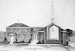 Penn Hills PA:  Studio work of the architectural rendering of the new Penn Hills Baptist Church on Hulton Road in Verona.