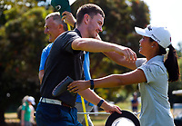 Momoka Kobori (right) congratulates Kerry Mountcastle for winning the final against Josh Geary. Day four of the Brian Green Property Group NZ Super 6s Manawatu at Manawatu Golf Club in Palmerston North, New Zealand on Sunday, 28 February 2021. Photo: Dave Lintott / lintottphoto.co.nz