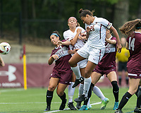 Newton, Massachusetts - August 27, 2017: NCAA Division I. Boston College (white) defeated Colgate University (maroon), 5-1, at Newton Campus Soccer Field.<br /> Goal.