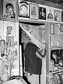 Krywe 09.10.2019 Poland<br /> Mr. Stanislaw lives alone in a valley in the Bieszczady Mountains. Since his wife died his only occupation is watching TV and woodworking.<br /> Photo: Adam Lach<br /> <br /> Pan Stanislaw zyje samotnie w dolinie w Bieszczadach. Odkad zmarla mu zona jego jedynym zajeciem jest ogladanie telewizji i drewniane rekodzielo.<br /> Photo: Adam Lach