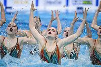 KIRYLIUK Marharyta / KOUTSUN Hanna<br /> KUDZINA Yana / KULIASHOVA Kseniya<br /> NAVASIOLAVA Anastasiya / PUZ Valeryia<br /> TRATSEUSKAYA Kseniya / VYSOTSKAYA Aliaksandra <br /> BLR  <br /> TEAM FREE Final <br /> Artistic Swimming<br /> Budapest  - Hungary  14/5/2021<br /> Duna Arena<br /> XXXV LEN European Aquatic Championships<br /> Photo Andrea Staccioli / Deepbluemedia / Insidefoto