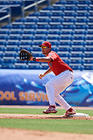 Clearwater Threshers first baseman Darick Hall (21) waits to receive a throw during a game against the Fort Myers Miracle on April 25, 2018 at Spectrum Field in Clearwater, Florida.  Clearwater defeated Fort Myers 9-5. (Mike Janes/Four Seam Images)