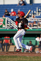 Batavia Muckdogs shortstop Demetrius Sims (3) at bat during a game against the State College Spikes on July 9, 2018 at Dwyer Stadium in Batavia, New York.  State College defeated Batavia 3-0.  (Mike Janes/Four Seam Images)
