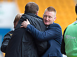 St Johnstone v Motherwell.....19.05.13      SPL.Steve Lomas hugs Tommy Wright at full time.Picture by Graeme Hart..Copyright Perthshire Picture Agency.Tel: 01738 623350  Mobile: 07990 594431