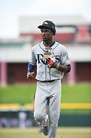 Peoria Javelinas shortstop Lucius Fox (5), of the Tampa Bay Rays organization, jogs off the field between innings of an Arizona Fall League game against the Mesa Solar Sox at Sloan Park on October 11, 2018 in Mesa, Arizona. Mesa defeated Peoria 10-9. (Zachary Lucy/Four Seam Images)