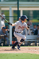 Detroit Tigers designated hitter Daniel Woodrow (22) follows through on a swing during a Florida Instructional League game against the Pittsburgh Pirates on October 2, 2018 at the Pirate City in Bradenton, Florida.  (Mike Janes/Four Seam Images)