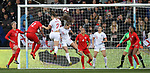 Lucy Bronze of England tries a header on goal