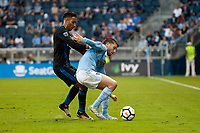Kansas City, KS - Wednesday August 9, 2017: Danny Hoesen, Ilie Sanchez during a Lamar Hunt U.S. Open Cup Semifinal match between Sporting Kansas City and the San Jose Earthquakes at Children's Mercy Park.