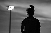 COMMERCE CITY, CO - OCTOBER 25: Sarah Gorden of the USWNT listens to her coaches at Dick's Sporting Goods training fields on October 25, 2020 in Commerce City, Colorado.