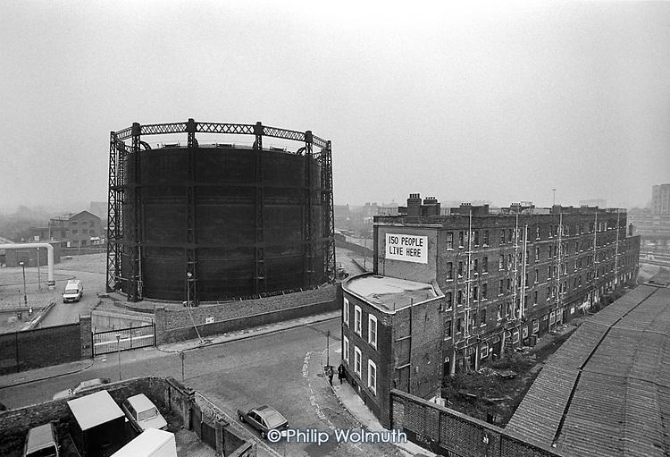 Culross Buildings and gasometer, Kings Cross, London 1989