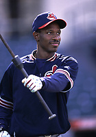 Kenny Lofton of the Cleveland Indians during a 2000 season MLB game at Angel Stadium in Anaheim, California. (Larry Goren/Four Seam Images)