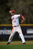 Ball State Cardinals third baseman Elbert Devarie (31) during a game against the Maine Black Bears on March 3, 2015 at North Charlotte Regional Park in Port Charlotte, Florida.  Ball State defeated Maine 8-7.  (Mike Janes/Four Seam Images)