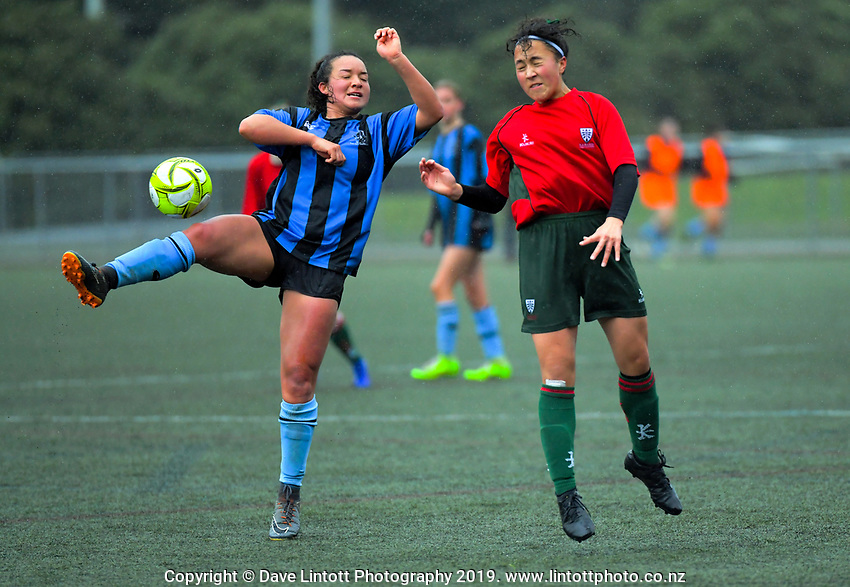 Action from the 2019 Grant Jarvis NZ Secondary Schools Girls' 1st XI football tournament match between Karamu High School and Wanganui Collegiate School at Wakefield Park in Wellington, New Zealand on Thursday, 5 September 2018. Photo: Dave Lintott / lintottphoto.co.nz