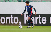 ST. GALLEN, SWITZERLAND - MAY 30: Weston McKennie #8 of the United States moves with the ball during a game between Switzerland and USMNT at Kybunpark on May 30, 2021 in St. Gallen, Switzerland.