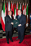 First Minister Alex Salmond, First Minister of Scotland presents His Excellency Mr. Abdulla Al-Radhi (Embassy of the Republic of Yemen) with a gift following the dinner and reception held at Edinburgh Castle this evening..Pic Kenny Smith, Kenny Smith Photography.6 Bluebell Grove, Kelty, Fife, KY4 0GX .Tel 07809 450119,