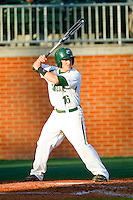 Justin Roland (16) of the Charlotte 49ers at bat against the Delaware State Hornets at Robert and Mariam Hayes Stadium on February 15, 2013 in Charlotte, North Carolina.  The 49ers defeated the Hornets 13-7.  (Brian Westerholt/Four Seam Images)