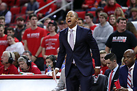 RALEIGH, NC - JANUARY 9: Assistant coach Takayo Siddle of North Carolina State University during a game between Notre Dame and NC State at PNC Arena on January 9, 2020 in Raleigh, North Carolina.