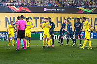 29th April 2021; Ceramica Stadium, Villareal, Spain; EUropa League semi-final football, Villareal CF versus Arsenal;  The referee signals a penalty for Arsenal during the UEFA Europa League match