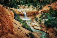 Waterfall on Tropic Ditch stream. Zion National Park, Utah