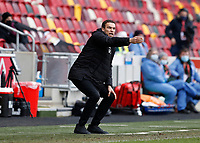 14th February 2021; Brentford Community Stadium, London, England; English Football League Championship Football, Brentford FC versus Barnsley; Barnsley Manager Valerien Ismael shouting instructions towards his players from the touchline