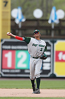 Fort Wayne TinCaps shortstop Fernando Tatis Jr. (23) makes a throw to first base against the West Michigan Michigan Whitecaps during the Midwest League baseball game on April 26, 2017 at Fifth Third Ballpark in Comstock Park, Michigan. West Michigan defeated Fort Wayne 8-2. (Andrew Woolley/Four Seam Images via AP Images)