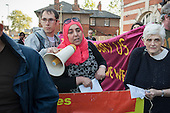 Esmaa Guernaoui, whose family were former residents of Sweets Way estate in Whetstone, is now living in emergency accommodation outside the borough. Tenants, evicted tenants and housing campaigners in Barnet, north London, protest outside Hendon Town Hall over the sale of West Hendon estate and the demolition of Sweets Way estate.