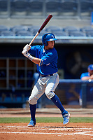 Dunedin Blue Jays Logan Warmoth (7) during a Florida State League game against the Charlotte Stone Crabs on April 17, 2019 at Charlotte Sports Park in Port Charlotte, Florida.  Charlotte defeated Dunedin 4-3.  (Mike Janes/Four Seam Images)